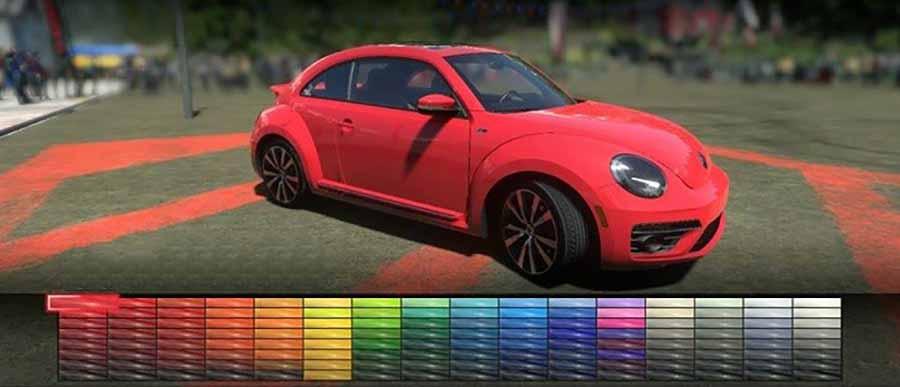 volkswagen escarabajo rojo y gama de colores