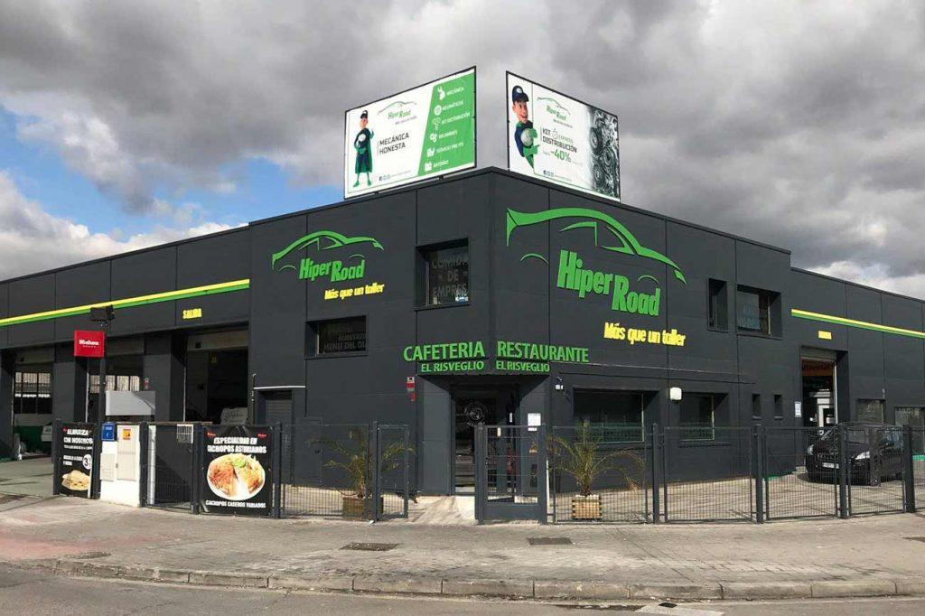 fachada del taller hiper road madrid